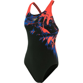 speedo Placement Traje de Baño Powerback Mujer, colourrays black/lava red